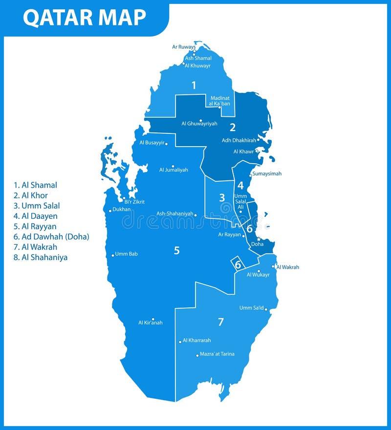 Die ausführliche Karte von Katar mit Regionen oder Zustände und Städte, Kapital Verwaltungsabteilung lizenzfreie abbildung