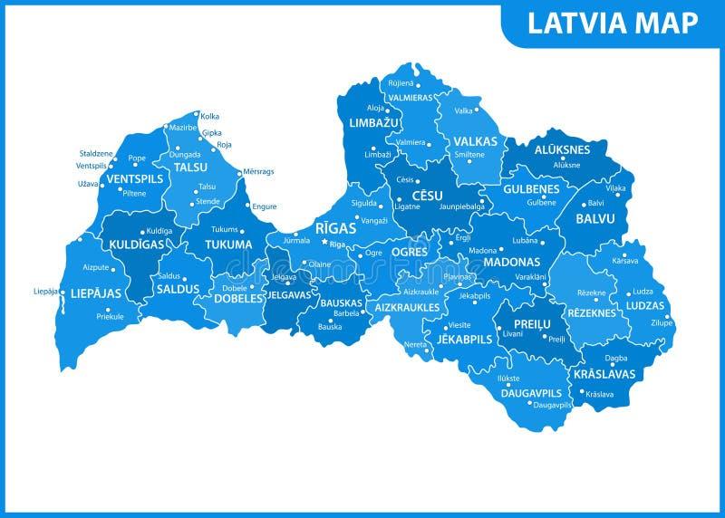 Die ausführliche Karte von Lettland mit Regionen oder Zustände und Städte, Kapital Verwaltungsabteilung lizenzfreie abbildung