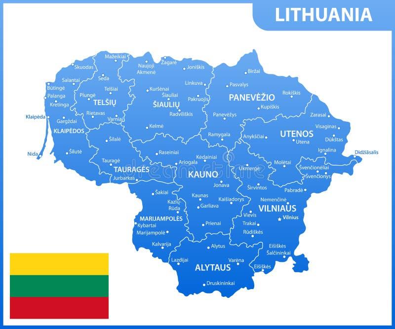 Die ausführliche Karte von Litauen mit Regionen oder Zustände und Städte, Kapital Verwaltungsabteilung stock abbildung