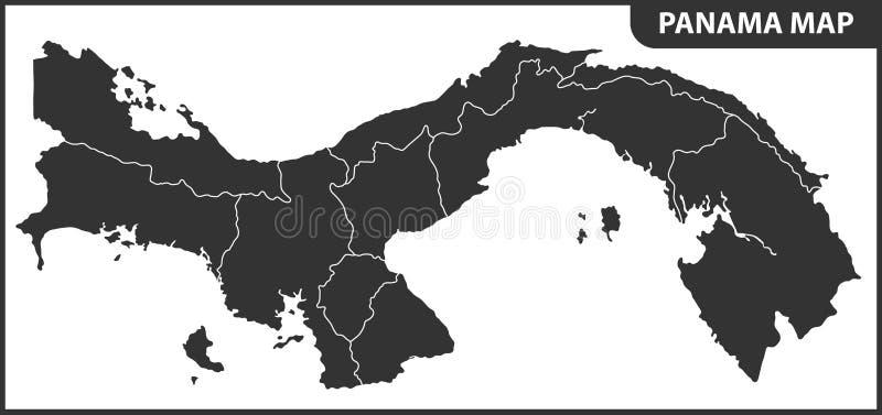 Die ausführliche Karte von Panama mit Regionen oder Zuständen Verwaltungsabteilung lizenzfreie abbildung