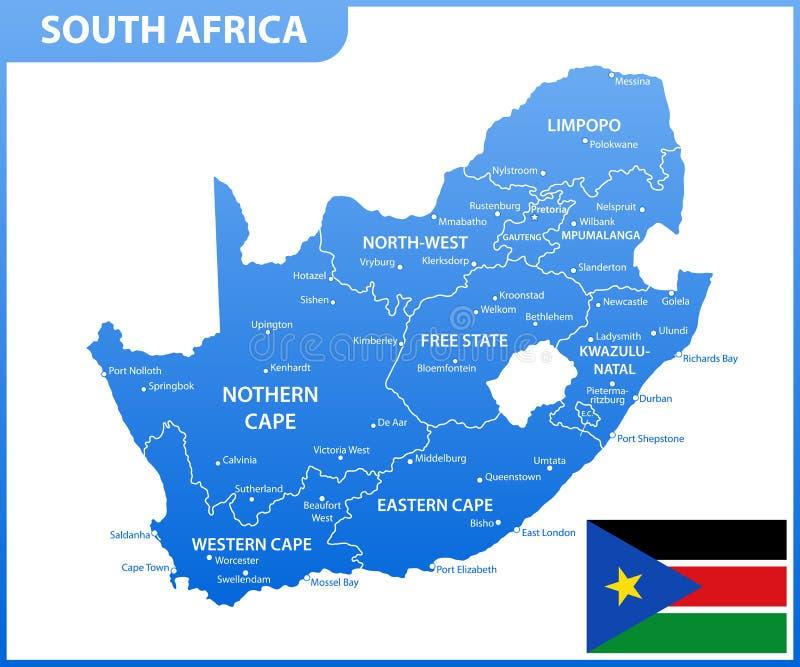 Die ausführliche Karte von Südafrika mit Regionen oder Zustände und Städte, Kapital Verwaltungsabteilung stock abbildung