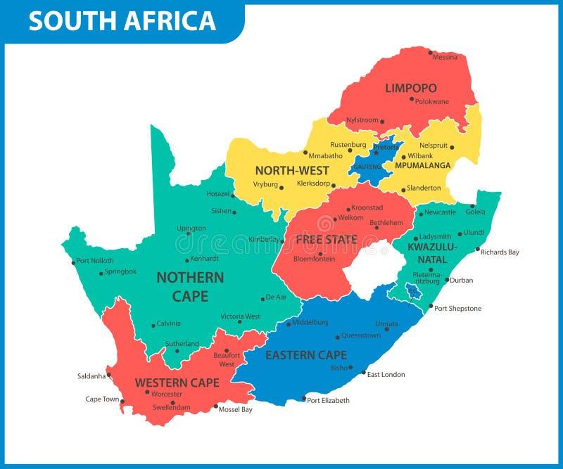 Die ausführliche Karte von Südafrika mit Regionen oder Zustände und Städte, Kapital Verwaltungsabteilung lizenzfreie abbildung