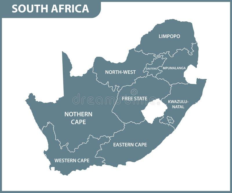 Die ausführliche Karte von Südafrika mit Regionen oder Zuständen Verwaltungsabteilung stock abbildung