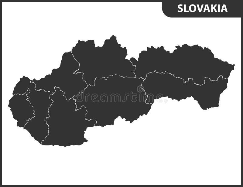 Die ausführliche Karte von Slowakei mit Regionen oder Zuständen Verwaltungsabteilung vektor abbildung