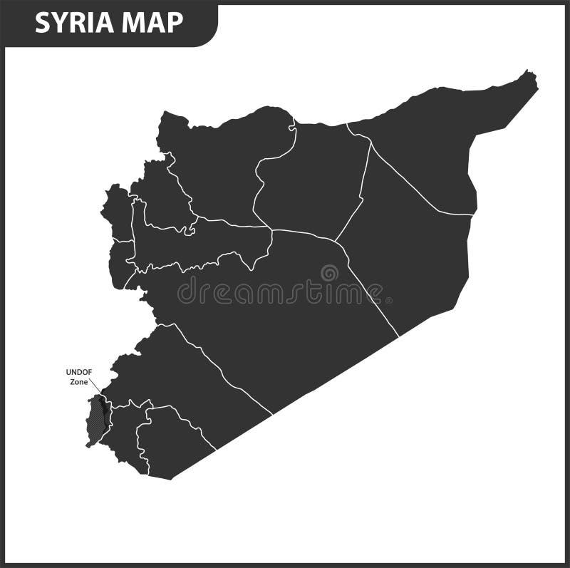 Die ausführliche Karte von Syrien mit Regionen oder Zuständen Verwaltungsabteilung lizenzfreie abbildung