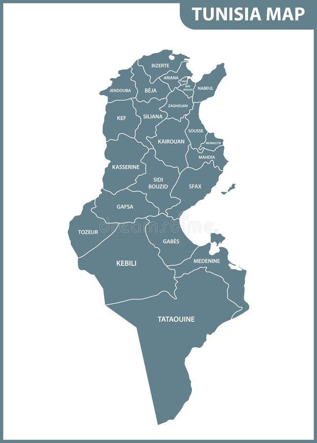 Die ausführliche Karte von Tunesien mit Regionen oder Zuständen lizenzfreie abbildung