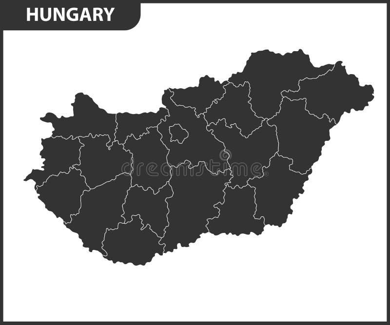 Die ausführliche Karte von Ungarn mit Regionen oder Zuständen Verwaltungsabteilung stock abbildung