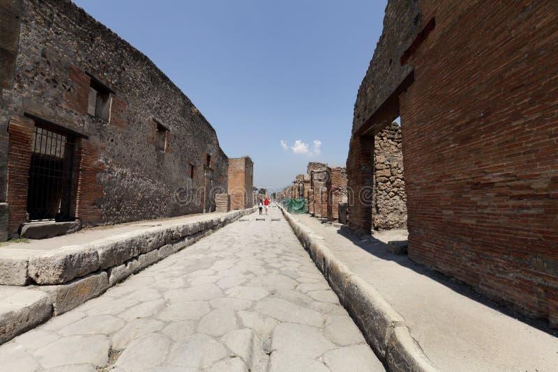 Die ausgegrabenen Ruinen von Pompeji-Stadt stockfotografie