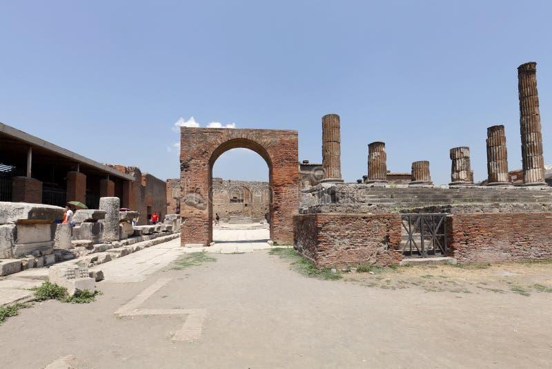 Die ausgegrabenen Ruinen von Pompeji-Stadt stockfotos