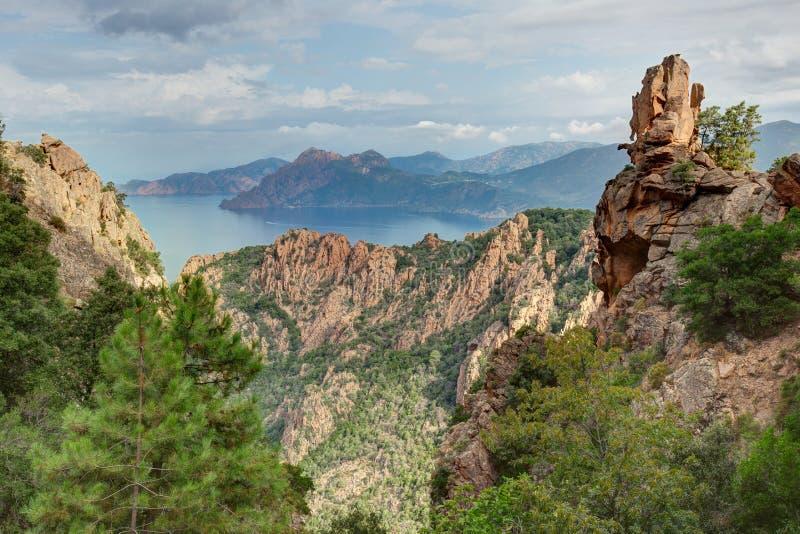 Die ausgezeichneten Nebenflüsse von Piana in Korsika Frankreich lizenzfreies stockfoto