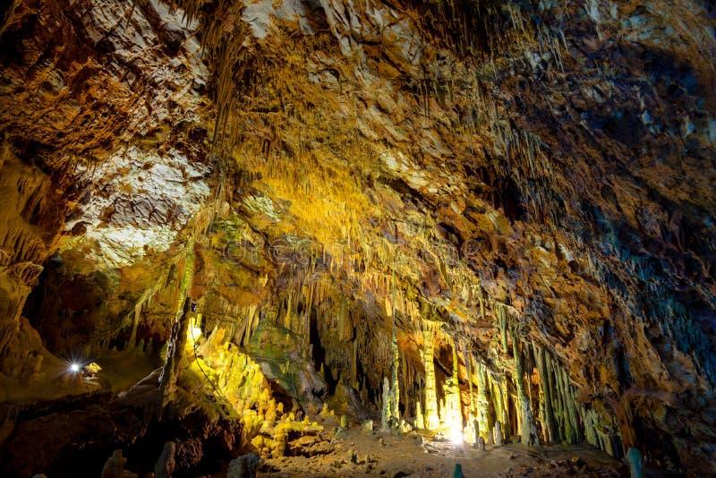 Die ausgezeichneten und majestätischen Höhlen von Diros in Griechenland Ein großartiger Anblick von stalacites und von Stalagmite lizenzfreie stockfotografie