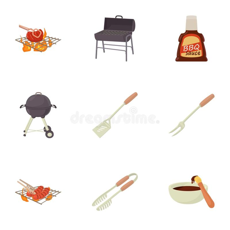Die Ausrüstungsikonen kochen eingestellt, Karikaturart vektor abbildung