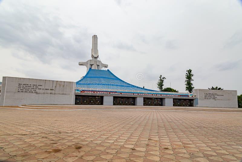 Die Aussicht auf die Katholische Kathedrale Abidjan Côte d'Ivoy stockbild