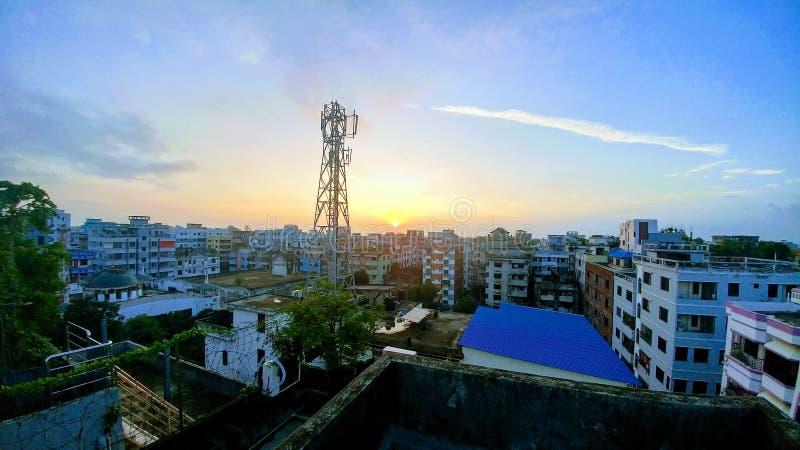 Die Aussicht auf die Stadt Dhaka oben lizenzfreies stockfoto