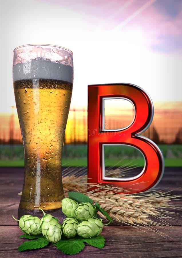 Die Auswirkung des Bieres auf Gesundheit - 3D übertragen stock abbildung