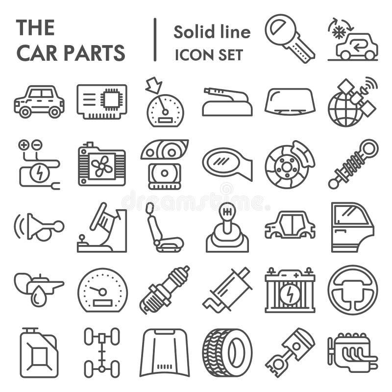 Die Autoteile zeichnen Ikonensatz, Automobildetailsymbole Sammlung, Vektorskizzen, Logoillustrationen, Fahrzeugzeichen lizenzfreie abbildung
