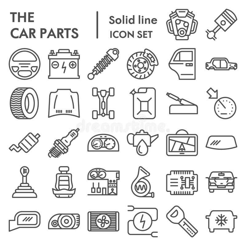 Die Autoteile zeichnen Ikonensatz, Automobilsymbole Sammlung, Vektorskizzen, Logoillustrationen, die linearen Fahrzeugzeichen lizenzfreie abbildung