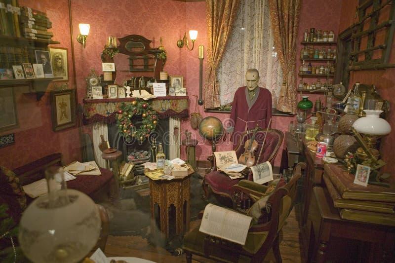 Die Bäcker-Street Sitting Room-Erholung auf oberstem Stockwerk von Sherlock Holmes Pub, London, England, stockbilder