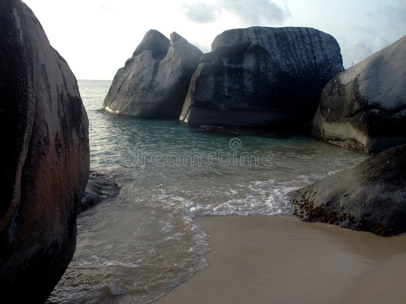Die Bäder in B.V.I. in den Karibischen Meeren stockfotos