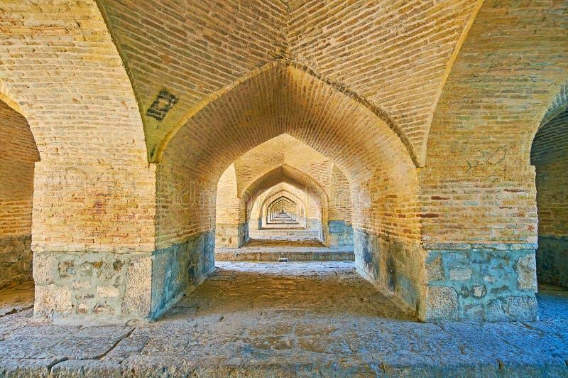 Die Bögen von Si-O-Se-Pol-Brücke, Isfahan, der Iran lizenzfreie stockbilder