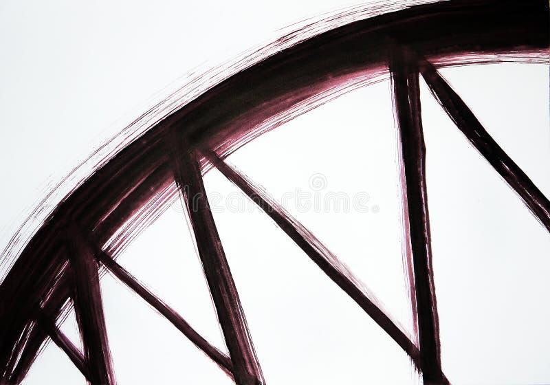 Die Bürste zeichnet einen breiten Bogen und schmalen Linien Harmonische Bewegungsunterstützung Br?ckenunterst?tzung vektor abbildung