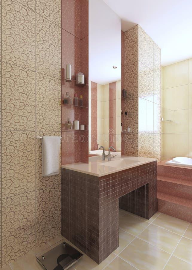 Die Badezimmerwanne, gemacht von Mosaikburgunder-Fliesen, mit einem großen m vektor abbildung