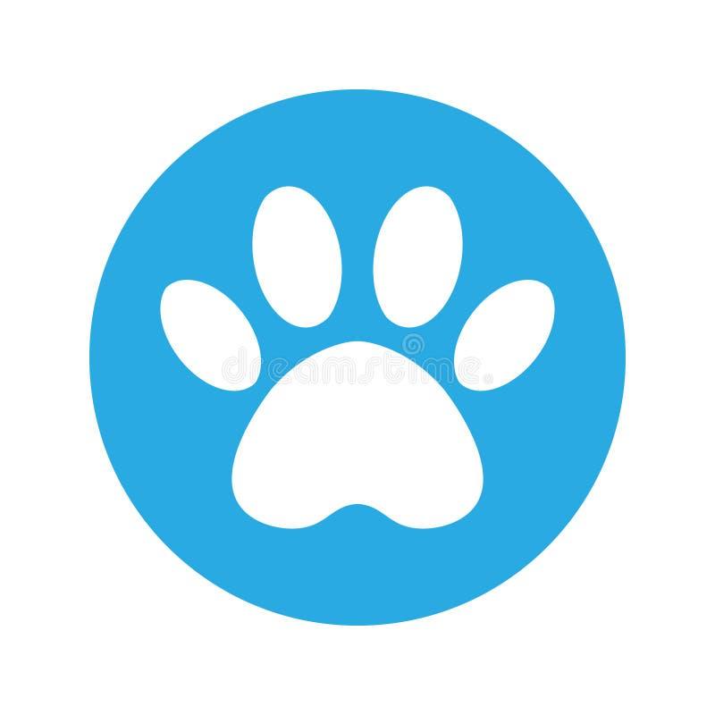 Die Bahn des Hundes im blauen Kreis Katzen- und Hundepfotenabdruck innerhalb des Kreises lizenzfreie abbildung
