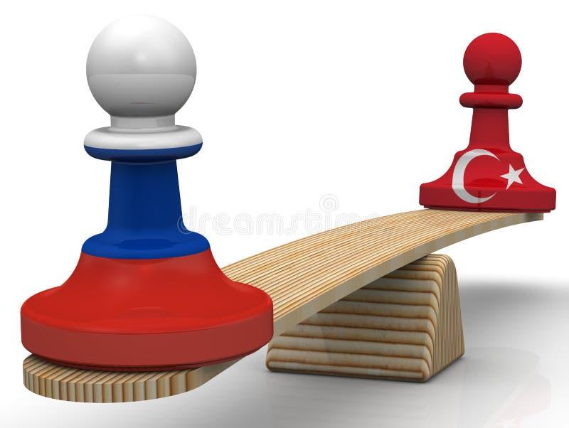 Die Balance zwischen der Russischen Föderation und der Türkei Konzept stock abbildung