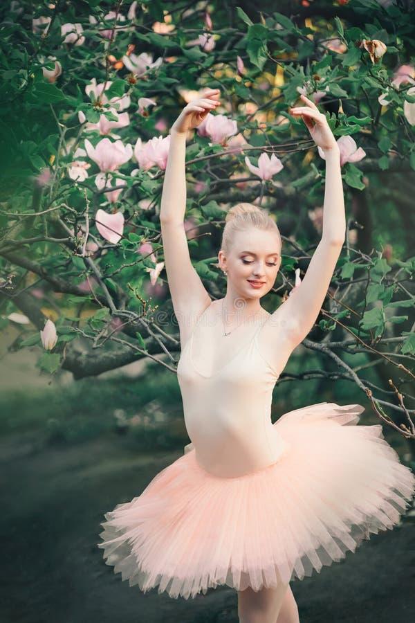 Die Ballerina, die draußen klassisches Ballett tanzt, wirft in den Blumenländern auf lizenzfreie stockbilder