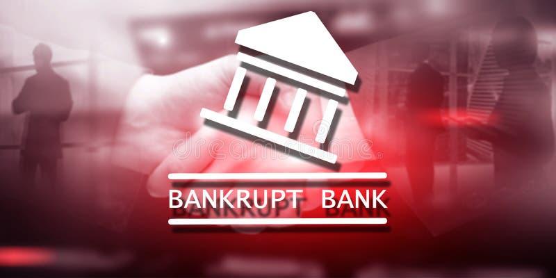 Die Bank ist bankrott Die Aufschrift auf dem virtuellen Schirm: Bankrott stockfoto