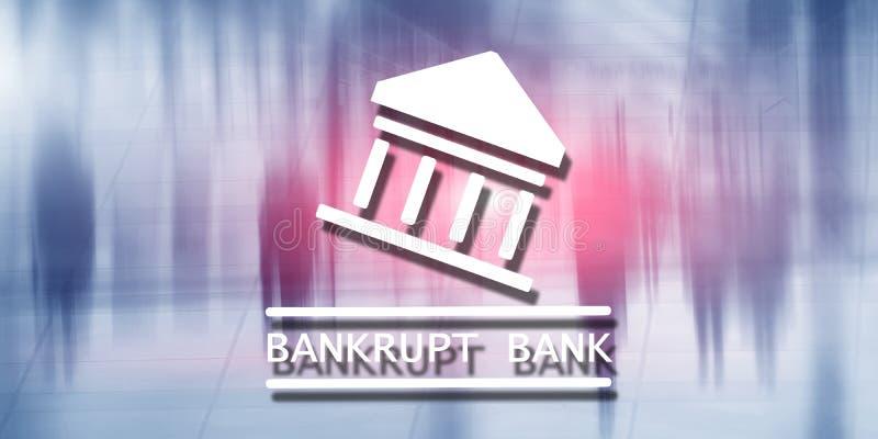 Die Bank ist bankrott Die Aufschrift auf dem virtuellen Schirm: Bankrott stockfotografie