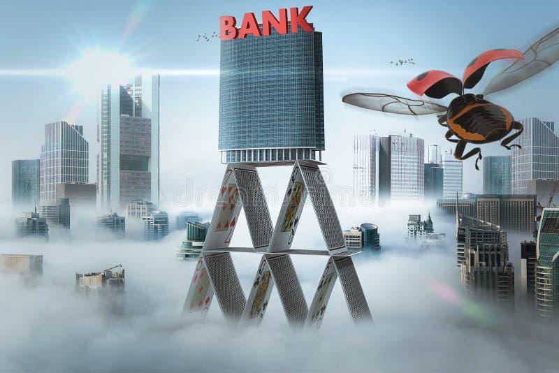 Die Bank wird auf einem Kartenhaus errichtet - 3D-Illustration stockbild
