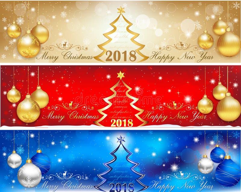 3 die banners leaderboard voor Nieuwjaar 2018 worden geplaatst stock illustratie
