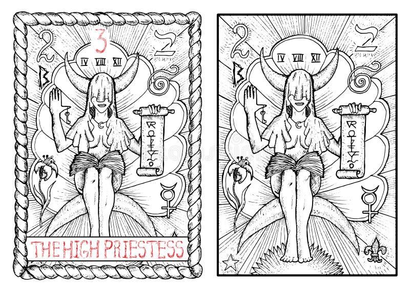 Die bedeutende Arcanatarockkarte Das Hohepriesterin lizenzfreie abbildung