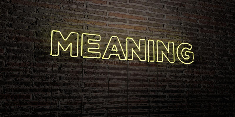 Die BEDEUTUNG - realistische Leuchtreklame auf Backsteinmauerhintergrund - von 3D übertrug freies Archivbild der Abgabe vektor abbildung