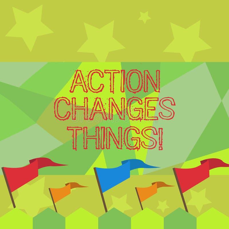 Die Begriffshandschrift, die Aktion zeigt, ändert Sachen Geschäftsfototext, sich zu verbessern stehen nicht noch ließ s ist stock abbildung