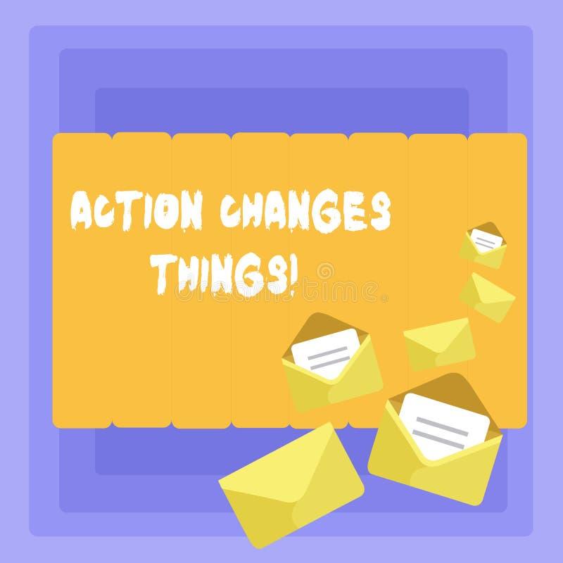 Die Begriffshandschrift, die Aktion zeigt, ändert Sachen Das zur Schau stellende Geschäftsfoto, sich zu verbessern stehen nicht n lizenzfreie abbildung