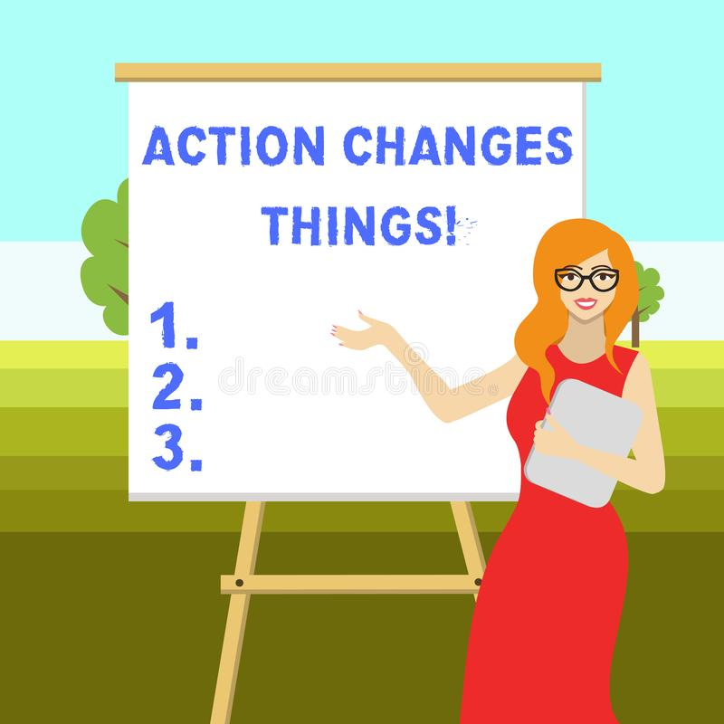 Die Begriffshandschrift, die Aktion zeigt, ?ndert Sachen Gesch?ftsfoto-Textanfang, der etwas gegen Problembeschlu? tut vektor abbildung