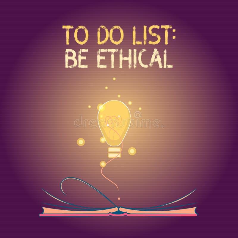 Die Begriffshandschrift, die darstellt, um Liste zu tun, ist ethisch Geschäftsfototextplan oder -anzeige, die in einem ethischen  lizenzfreie abbildung