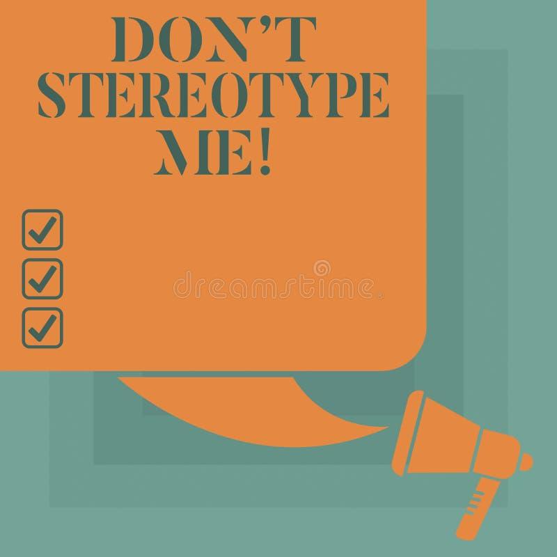Die Begriffshandschrift, die Don T zeigt, stereotypieren mich Geschäftsfototext irgendein Gedanke weit angenommen nach spezifisch lizenzfreie abbildung
