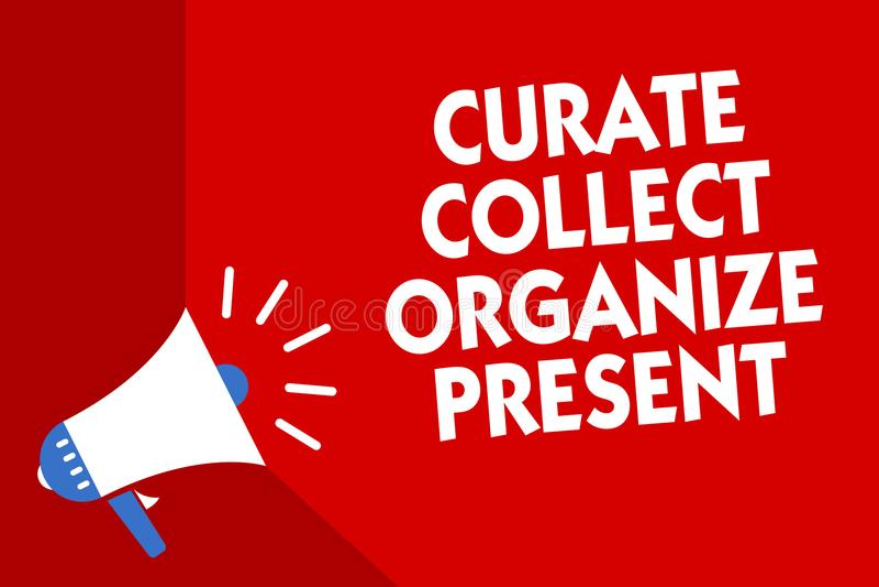 Die Begriffshandschrift, die Kuraten zeigt, sammeln organisieren Geschenk Geschäftsfoto, das Organisation Curation Prese ausziehe lizenzfreie abbildung