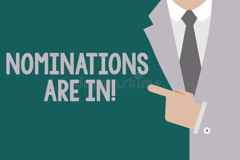 Die Begriffshandschrift, die Nominierungen zeigt, sind herein Geschäftsfototext, der formal jemand offizieller Kandidat für einen stock abbildung