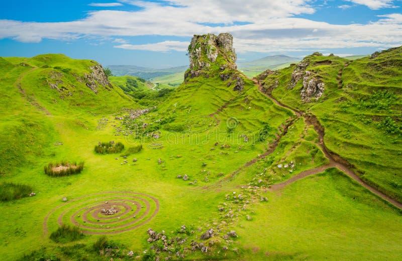 Die berühmte feenhafte Schlucht, gelegen in den Hügeln über dem Dorf von Uig auf der Insel von Skye in Schottland stockfoto