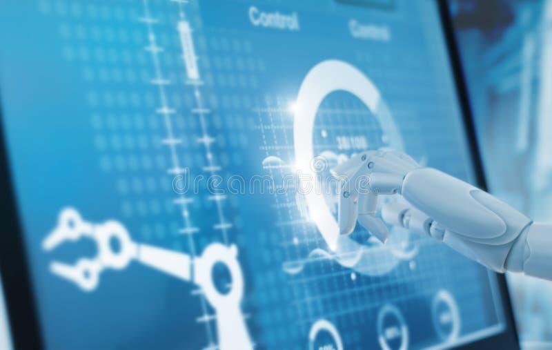 Die berührende und Steuerautomatisierungsroboter Robotikhand bewaffnet Maschine lizenzfreie stockfotos