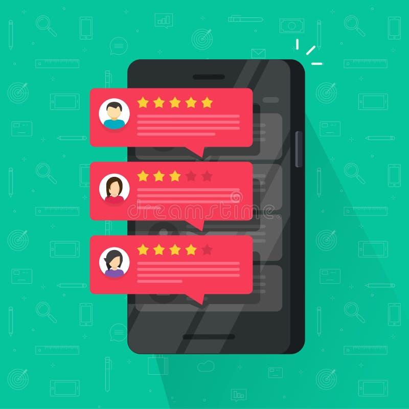 Die Berichte, die Blase auf Handyvektorillustration, flacher Smartphonebericht veranschlagen, spielt mit guter und schlechter Rat lizenzfreie abbildung