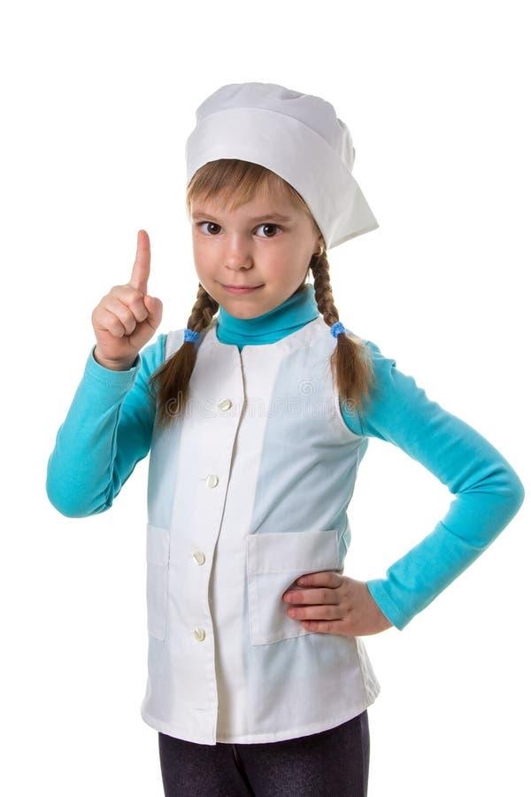 Die Berufsärztin, Finger zeigend zeigt Aufmerksamkeit, Porträt lizenzfreie stockbilder