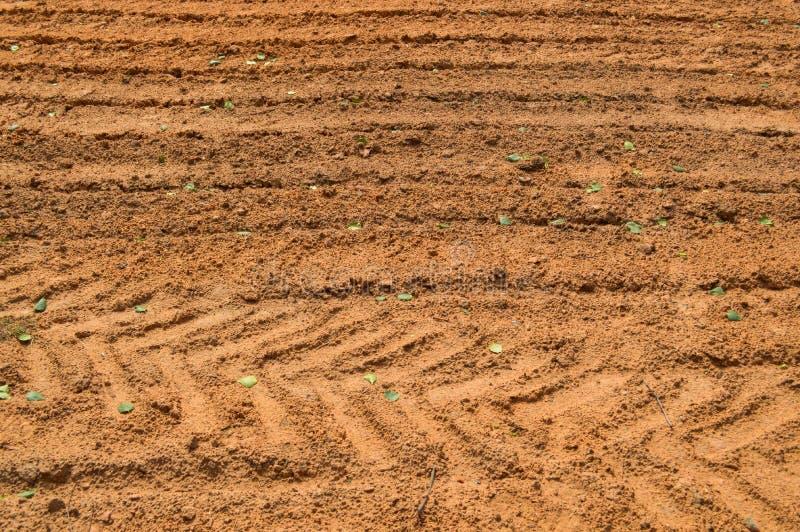 Die Beschaffenheit der Braunerde der Sandstraße mit Spuren der Reifenschritte der Autoreifen des Traktors Der Hintergrund stockfoto