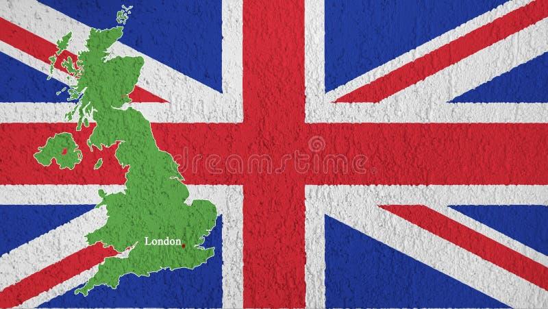 Die Beschaffenheit der Flagge von Großbritannien auf der Wand vektor abbildung