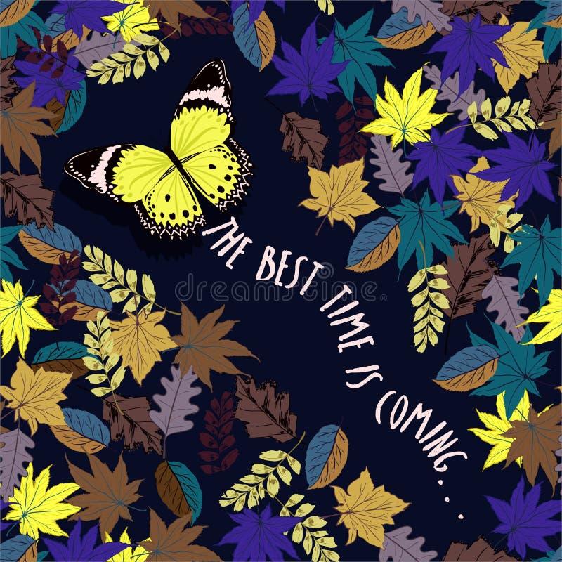 Die beste Zeit kommt mit Schmetterlingsfliegen durch Herbstgewinn lizenzfreie abbildung