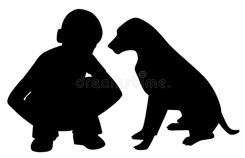 Die besten Freunde wenig Junge und Hund lizenzfreie abbildung